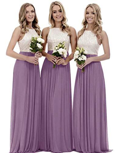 Women's Top Lace Bodice Chiffon Long Bridesmaid Dress A Line Evening Formal Dress Mauve Size 2