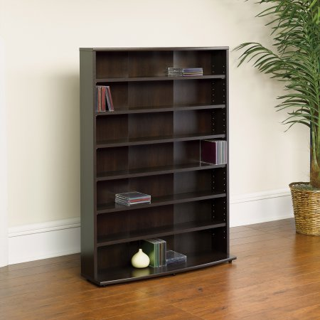- Multimedia Storage Tower, Cinnamon Cherry Finish, Media Centre Storage, Six Adjustable Shelves, Bookstand, Bookcase, Home Furniture, Laminate Finish, Made of Engineered Wood, BONUS e-book