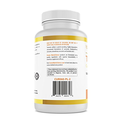 Turmeric Curcumin 1000mg, 60 Softgels, Crown NutraScience - 380mg Turmeric Extracts (Curcuminoid Powder) per Single Softgel, Emulsified for Maximum Absorption, Premium Joint Support & Pain Relief by Crown NutraScience (Image #3)