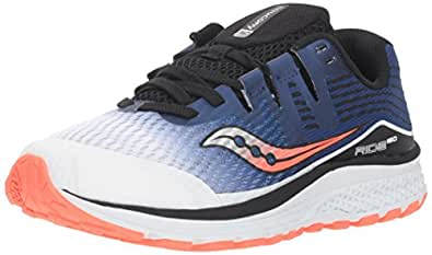 Saucony Boys' Ride Iso Running Shoe, White/Blue/Vizi Red, 2 US