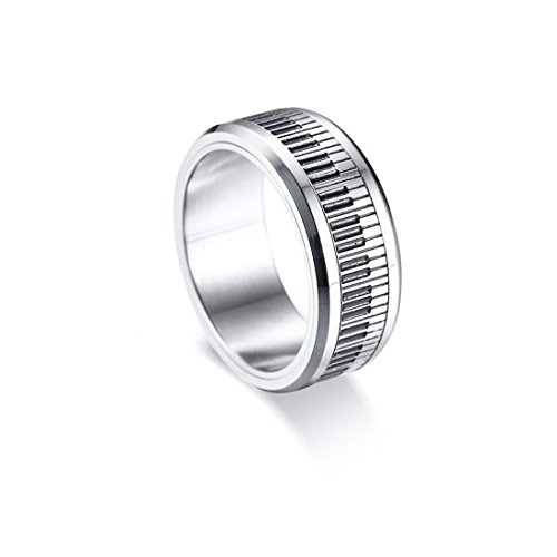 (OurJewellery Mens Piano Keyboards Titanium Steel Ring black and white keys-8mm (10))