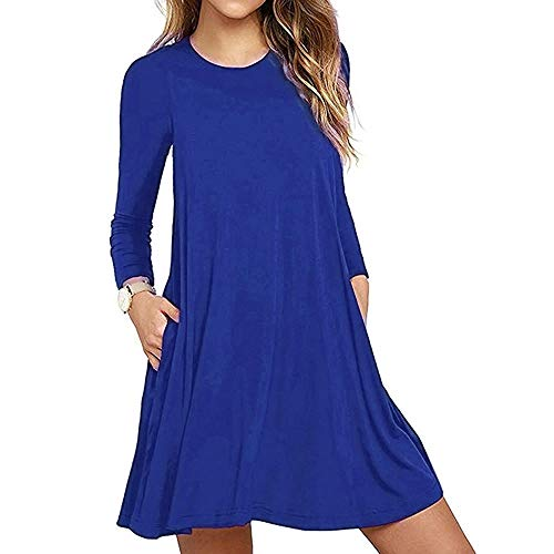 Aunimeifly Women's Casual Solid Color Loose Dress Long Sleeve Pocket Midi Dresses Round Neck T-Shirt Dress(XL,Blue)