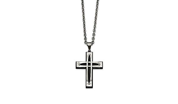 24 in, Length Jay Seiler Stainless Steel Black Plated Cross Pendant