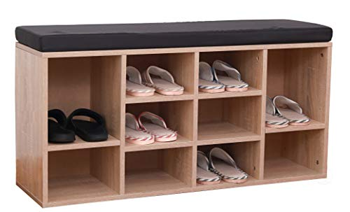 Basicwise QI003385 Natural Wooden Shoe Cubicle Storage Entryway Bench with Soft Cushion for Seating (Wooden Bench All Storage Natural)