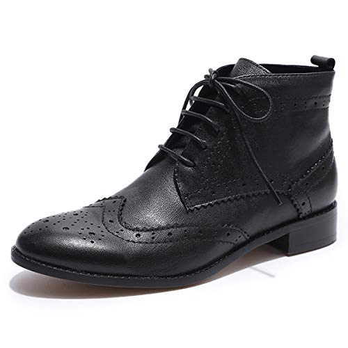 Oxford Sheepskin Boots - Mona flying Womens Leather Wingtip Boots Ankle Heels Fashion Lace up Booties with Low Heel Black