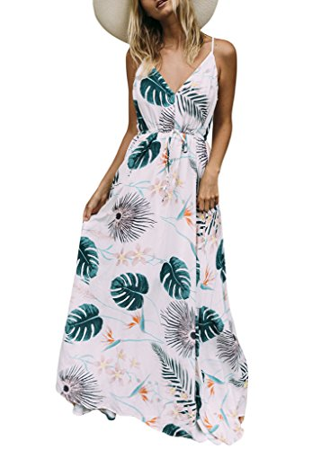 Sidefeel Women Foiled Flower Print V Neck Beach Maxi Long Dress Small White by Sidefeel
