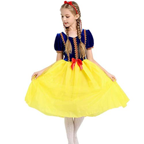 Girls' Princess Snow White Costume Dresses up Halloween Party+Headband ()