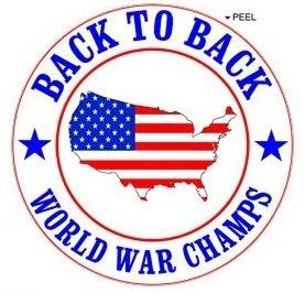 [해외]미국 - 뒤로 세계 대전 챔피언 - 미국 깃발 - Window Bumper Locker Sticker/USA - Back to Back World War Champs - USA flag - Window Bumper L