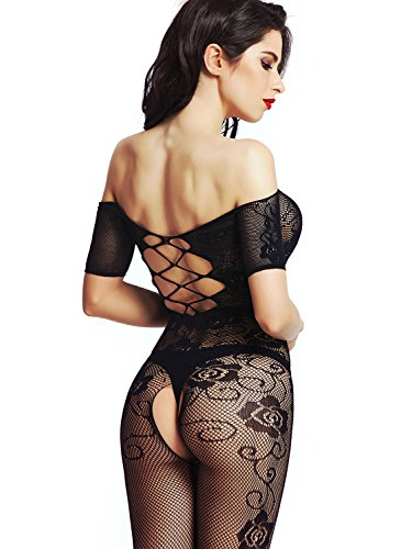 Amoretu Womens Strapless Lingerie Fishnet Bodysuits Crotchless Bodystocking (Halloween Lingerie)