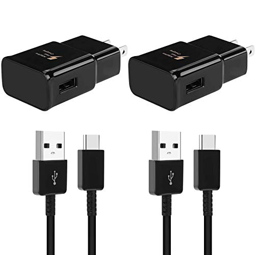 Adaptive Fast Charging Wall Charger Compatible with Samsung Galaxy S10/S9/S8/ S8+/S9+/S10+/ Note 8/ Note 9/ S21/S21+/S21 Ultra/ S20/S20 Plus/Note 10/ Note 20 with USB Type C Cable (2 Pack)