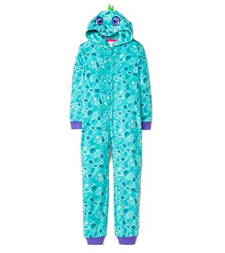Caterpillar Girl's Plush Fleece Blue Dinosaur Hooded Costume Style Pajama Sleeper (X-Small 4/5) -