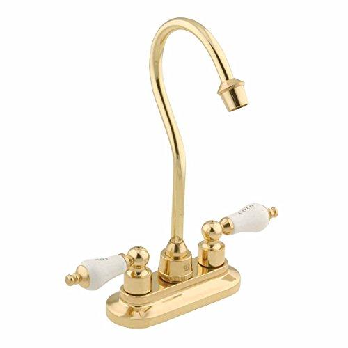 Gooseneck Bar Faucet Heavy Cast Brass Centerset 2 Handles | Renovator's Supply ()