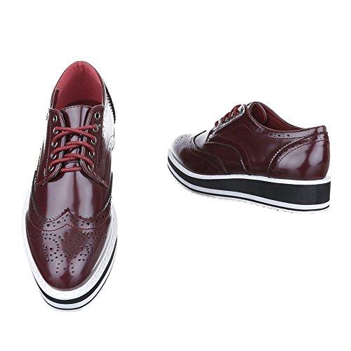 Ital-Design - Zapatos Planos con Cordones Mujer burdeos