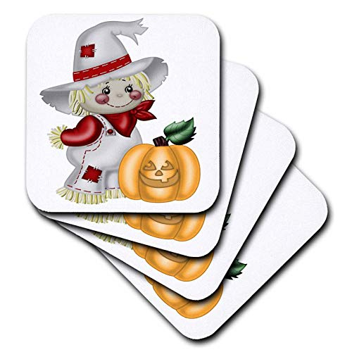 - 3dRose Anne Marie Baugh - Illustrations - Cute Smiling Scarecrow With A Pumpkin Illustration - set of 4 Ceramic Tile Coasters (cst_317966_3)