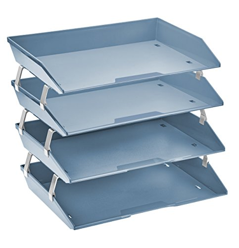 Acrimet Facility 4 Tier Letter Tray Plastic Desktop File Organizer (Solid Blue Color) ()