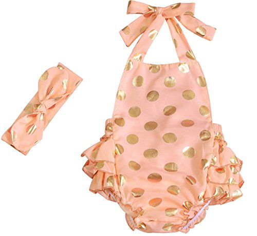 Messy Code Baby Girls Clothes Romper Onesies Gold Dot Jumpsuit One-pieces Ruffle Outfits Set Lt Peach Gold Small / 6-12Month]()
