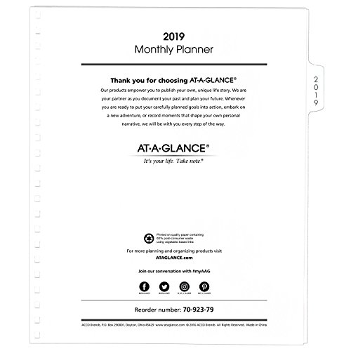 "AT-A-GLANCE 2019 Monthly Planner Refill, January 2019 - December 2019, 9"" x 11"", White (7092379)"