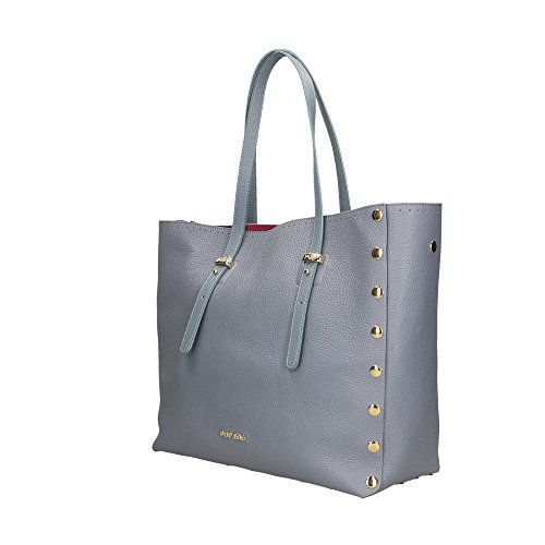Bags en POP 34x31x15 in Italy Sac Clair Impression Cm véritable cuir main Bleu Dollar à femme Made SBCq4