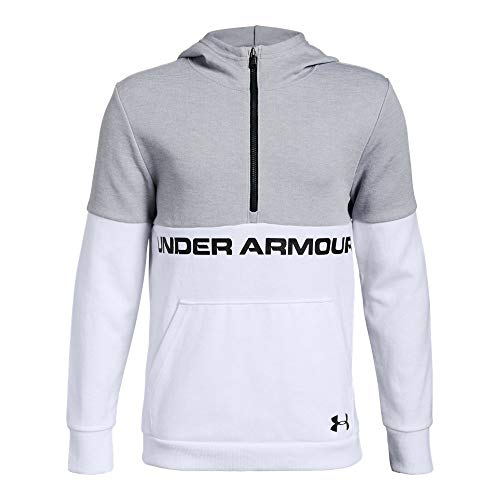 Under Armour Boys Double Knit 1/2 Zip Hoodie, White (100)/Black, Youth - Under Sweatshirt Boys Armour