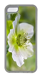 iPhone 5C Case, Customized Protective Soft TPU Clear Case for iphone 5C - One White Flower Cover
