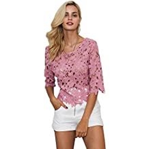 Meet the beauty Simplee Women Sexy Hollow Out Lace Blouse Elegant Party 3/4 Sleeve Backless Tops