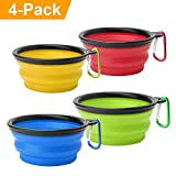 """Collapsible Dog Bowl, Basa 4 Pack Food Water Travel Bowl Food Grade Silicone BPA Free, Extra Large 34oz, 7"""" Diameter Foldable Expandable Cup Dish for Pet Cat Feeding Bowl for Hiking, or Camping"""
