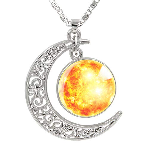 FANSING Womens Marvelous Necklace, Sun Pendant, Cosmic Crescent Moon Necklaces, Universe Space Jewelry, 18