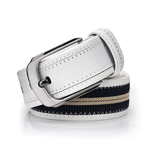 CAPONI Casual Leather & Canvas Woven Belt - Stylish Outdoor Belt for Jeans - 1 ½'' Wide with Gift Box (120cm(39-41