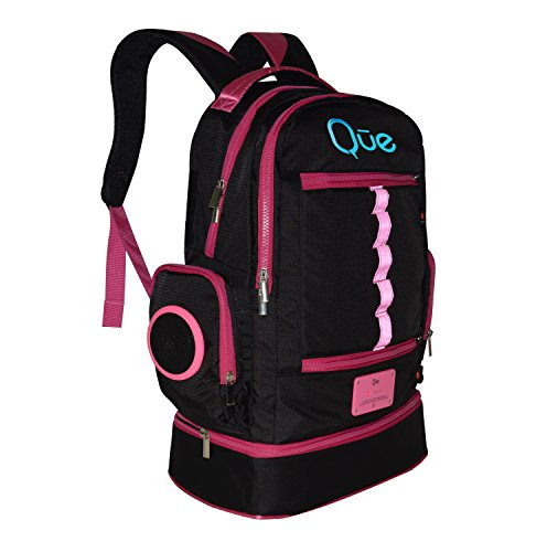 NEW Que Powerbag Backpack - Built In Charging Station, Bluetooth Speakers (Pink)