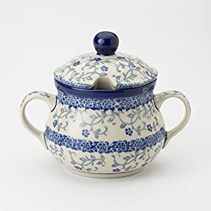 Polish Pottery Sugar Bowl – Forget-me-not