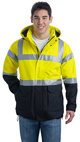 (Port Authority Men Class 3 Safety Heavyweight Parka, 3X Large, SftyYellow/Blk)