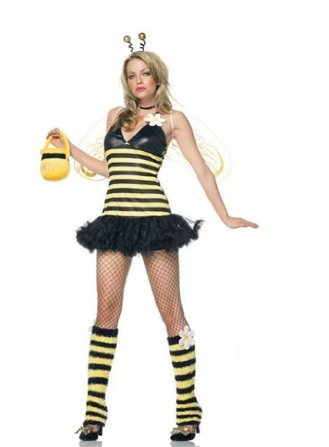 Leg Avenue Women's 4 Piece Daisy Bee Costume Yellow/Black (Daisy Honey Bee Costumes)