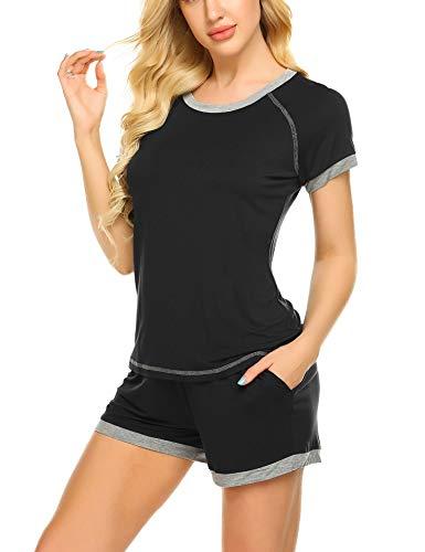 Ekouaer Sleepwear Sets Women's O-Neck Pajama Short Set Soft Loungewear Nightwear S-XXL D- Black