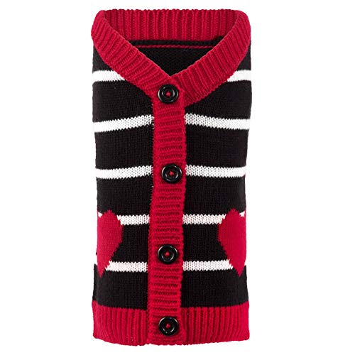 The Worthy Dog Hearts Cardigan Sweater for Large, Medium & Small Pets, Black, MD