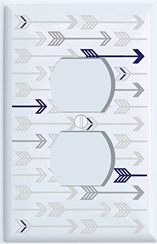 Navy Blue and Grey Arrow Print Outlet Covers/Grey Woodland Nursery Decor for Baby Boys or Girls (Outlet Cover)
