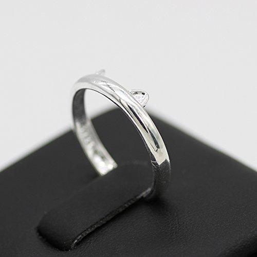 Haodou Anillo de mujer Anillo de orejas de gato Crystal White Diamond Lady Ring Accesorios de joyer/ía Regalo de cumplea/ños Plata