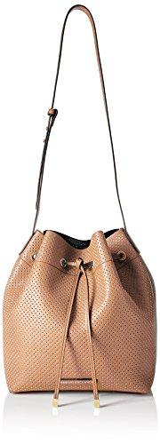 A|X Armani Exchange Perforated Pebble Pu Bucket Bag, Nude/Black