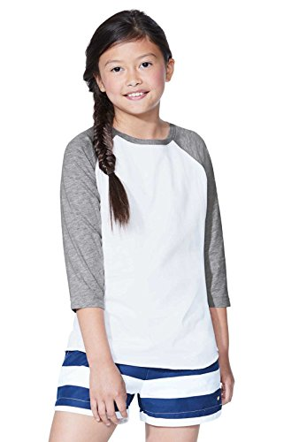 (LAT Youth Jersey Crew Neck Raglan 3/4 Sleeve Baseball Tee (Vintage Heather/Vintage Hot Pink, Xtra Small) )