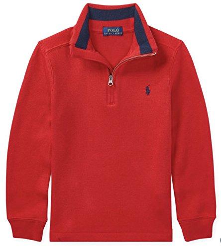 RALPH LAUREN Little Boys' French-Rib Half-Zip Pullover (4/4T, Martin Red) (Lauren Boys Sweatshirt Ralph)
