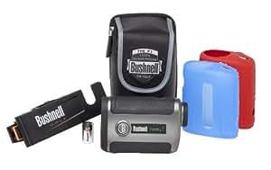 Bushnell Tour V2 Standard Golf Rangefinder with Clip-n-Go Mount and Red/Blue SKINZ