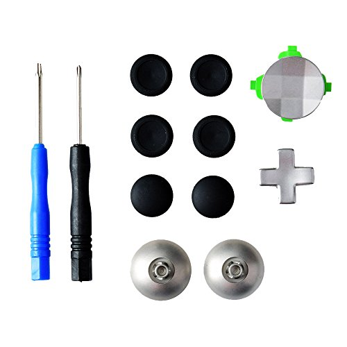 Gam3Gear 11 in 1 Metal Alloy Analog Thumbstick D-Pad Directional Button Set for XBOX One Elite Controller with Open Tool
