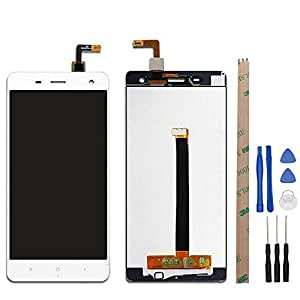 5inch For Xiaomi Mi4 Mi 4 LCD Display and Touch Screen Assembly Repair Parts White Black+Tools +Adhesive (White)