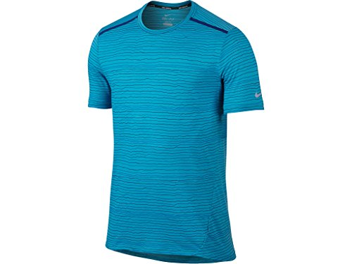 Nike Men's Cool Tailwind Stripe Running Dry-Fit T-Shirt Large Blue