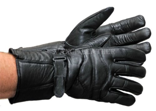 Vance Leather All Weather Leather Gauntlet Snowmobile Gloves Medium - Leather Snowmobile Gloves