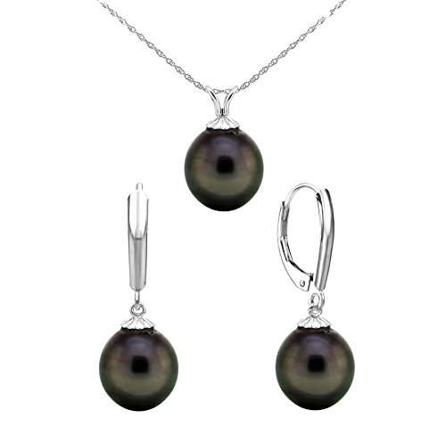 La Regis Jewelry 14k Gold 10-10.5mm Black Off-shape Tahitian Cultured Pearl Pendant and Lever-back Earrings, 18