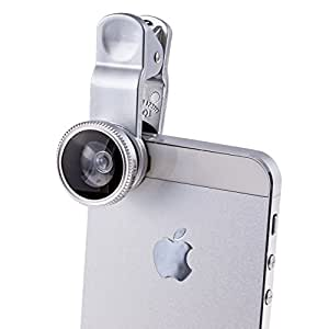 PTDC 3 in 1 Smart Phone Lens Kit for iPhone, Samsung Galaxy, HTC, Motorola, iPad | Includes a Fish Eye Lens, Macro Lens and Wide Angle Lens with Lens Caps. One Microfiber Carrying Bag Included