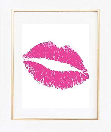 UNFRAMED Hot Pink Lips Print 8 x 10, Kiss Wall Art, Home Decor, Bedroom - Lips Pink Hot