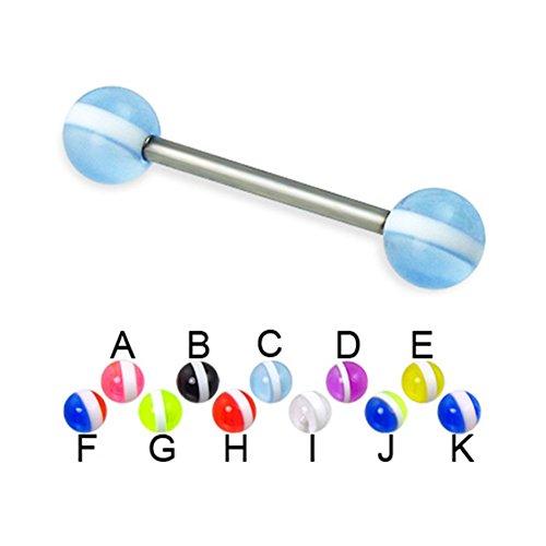 MsPiercing Striped Ball Titanium Straight Barbell, 14 Ga, Ball Size:1/4