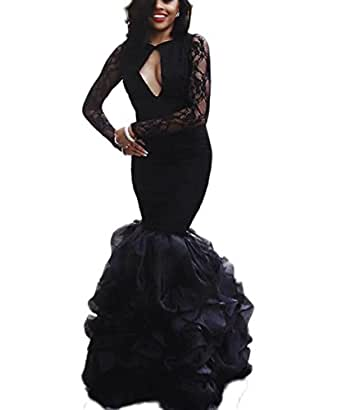 TulBridal Women's Black Lace Long Sleeves Mermaid Evening Formal Dress Sexy Prom Gowns 2018