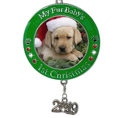 BANBERRY DESIGNS Pet's First Christmas 2019 - Photo Ornament with 2019 Charm and Engraved My Fur Baby's 1st Christmas (Christmas The Puppy)